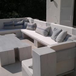 Création de coussins d'assises et coussins déco pour un salon de jardin près de Nice - Sandrine Sellerie
